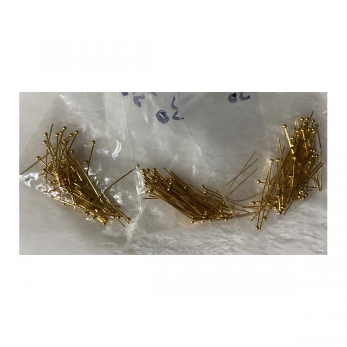 AUK-NP7301  Nerūdyjančio plieno vinutės, 20mm, su burbuliuku, aukso sp., 50 vnt.