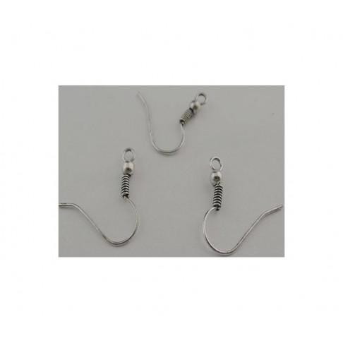 7-40478 Kabliukai auskarams 19x18mm, sendinto sidabro sp. už porą