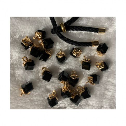 AUK-KR3253 Kristalo pakabukas, apie 12mm, spalva JUODA