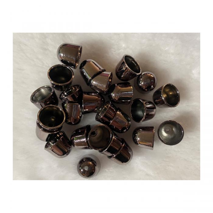 JUOD-UD1511 Metalizuota, kepurėlė-uzbaigimo detalė, 15x16mm vidus 14mm, JUODINTA