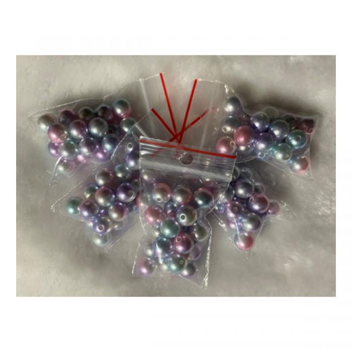 PER-A10220 Perliukai, akriliniai, 10mm, 20 vnt., RAUSVAI - MELSVI
