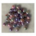 PER-A10223  Perliukas, akrilinis, 14mm, RAUSVAI - MELSVAS