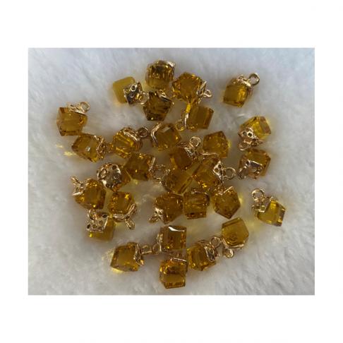 AUK-KR3265 Kristalo pakabukas, apie 12mm, 1 vnt., spalva gelsva-AUKSO