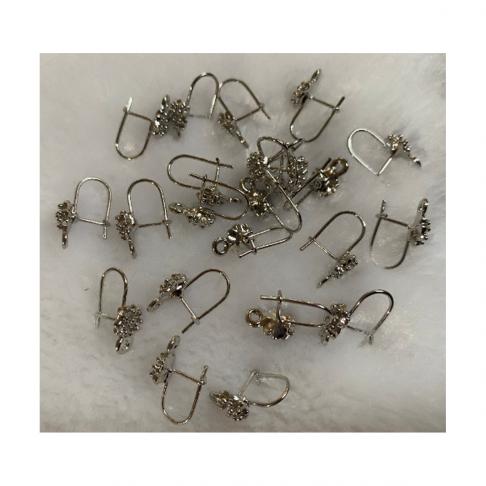 7-AS1020  Kabliukai auskarams, nedideli, 15x8mm, už porą, tamsesnio sid., sp.