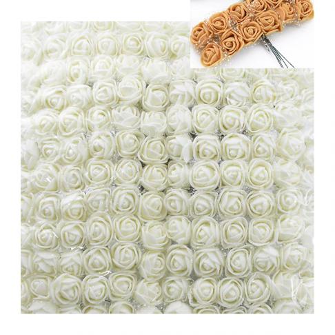 DK-GS14  Gėlytės dekoravimui, 12vnt., su koteliais, KREMINĖS