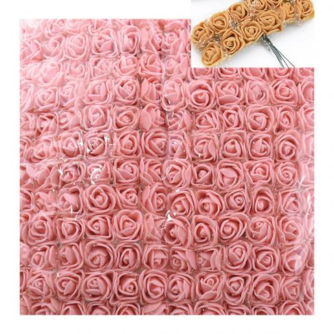 DK-GS18  Gėlytės dekoravimui, 12vnt., su koteliais, ROŽINĖS