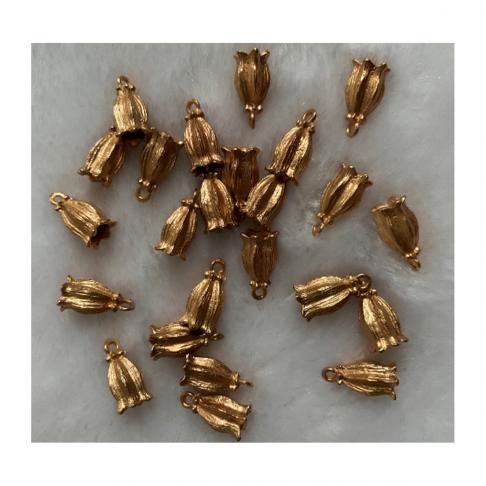 """ROZ-AK1047 Kepurėlė-užbaigimo detalė, """"Tulpė"""", viduriukas apie 4mm, 1vnt."""