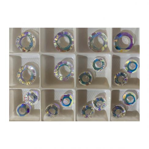 KR-A2771  Kristalo karoliukas, 10mm, žiedelis , SKAIDRUS AB