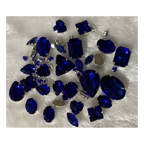 DT-MIX71  Kristalo, prisiuvamų intarpų MIX, apie 50 vnt. MĖLYNI