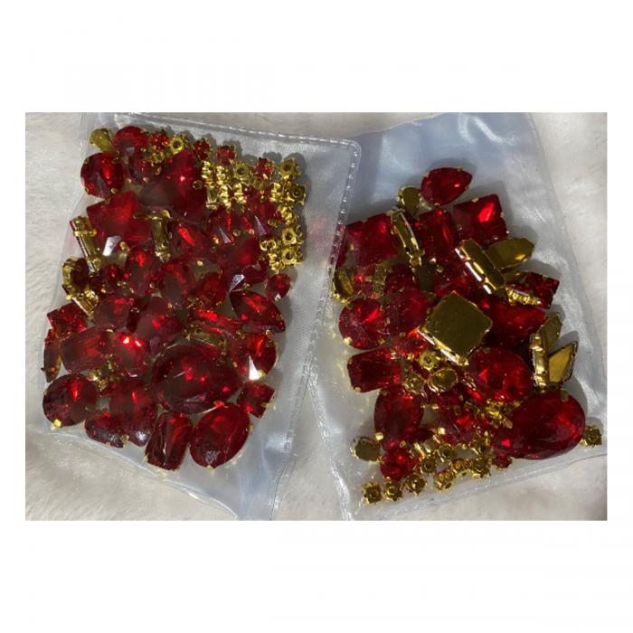 DT-MIX990    Kristalo prisiuvamų intarpų MIX, apie50 vnt. RAUDONI