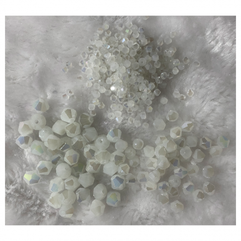 KR-SA2202  Kristalo karoliukas, bikone, 3mm, balta AB, 100vnt.