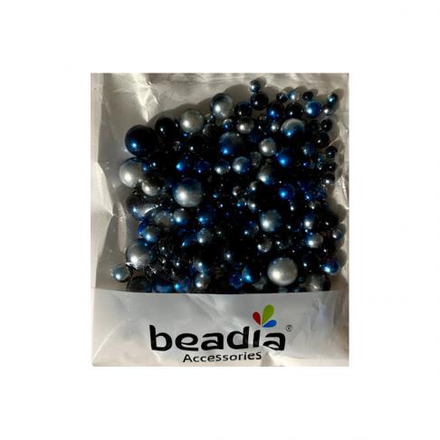 PER-BS1012   Akriliniai perliukai, BE SKYLUTĖS, mėlynai-balti. MIX, 4-10mm, 1 įpakavimas (nuotraukoje), m