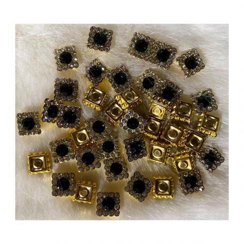 DEK-05392  Dekoravimo detalė, klijuojama, 10mm, 10 vnt.,tamsiai ŽALI