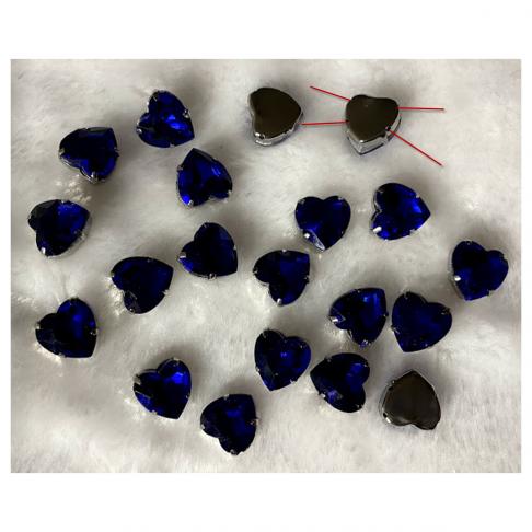 KR-DT1226  Intarpas-detalė, širdelė, 12 mm, kristalo MĖLYNA sp.