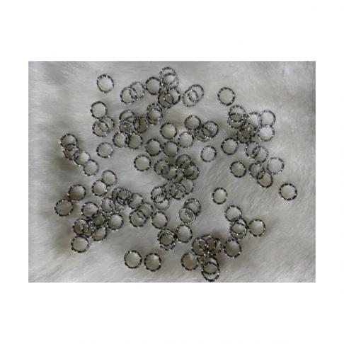7-009063  Žiedelis, 8x1mm, graviruotas, tamsesnio sidabro sp., 1vnt.