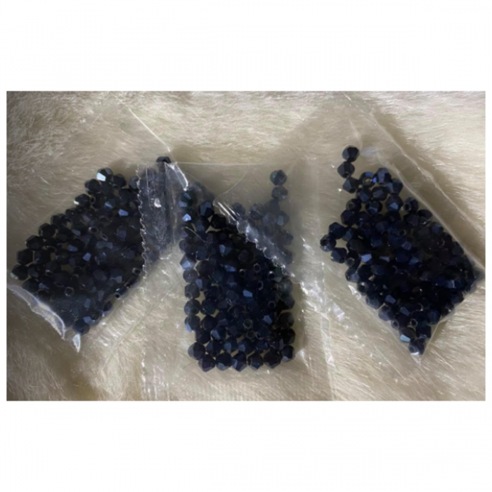 KR-KA402 Kristalo karoliukai, bikone, 4mm, apie 100 vnt., blizgūs- JUODI