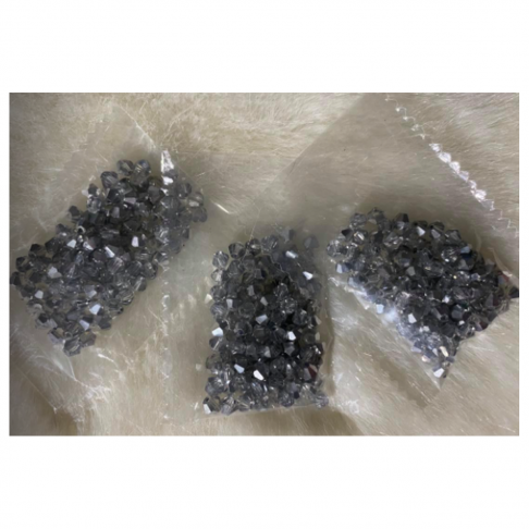 KR-KA404  Kristalo karoliukai, bikone, 4mm, apie 100 vnt., SIDABRO sp.