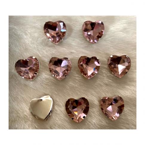 """DET-S8081  Kristalo prisiuvama detalė, """"Širdelė"""", 18mm, šviesiai rožinė, 1vnt."""