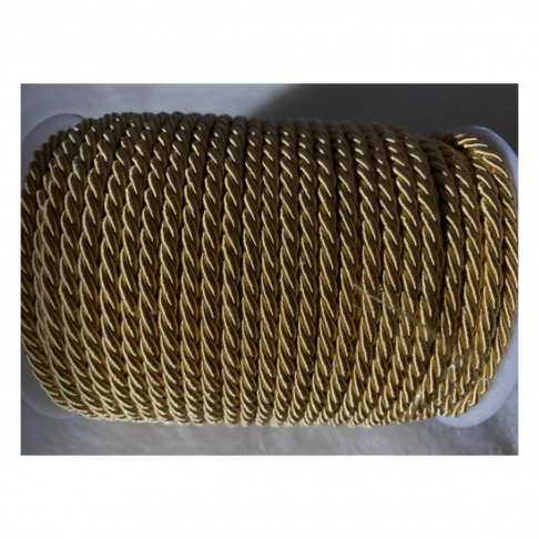 V-S4176  Sukta satino virvutė, 4mm, GELSVA-AUKSO sp., kaina 1 beginio metro.