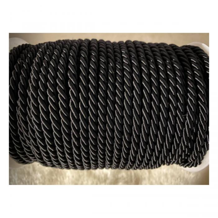 V-S4174 Sukta satino virvutė, 4mm, JUODA, kaina 1 beginio metro.