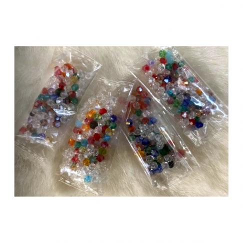 KR-34004  Kristalo karoliukai, bikone, 4mm, 100vnt., MIX