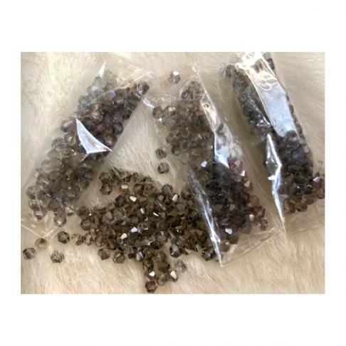 KR-34001  Kristalo karoliukai, bikone, 4mm, 100vnt., deimanto PILKA
