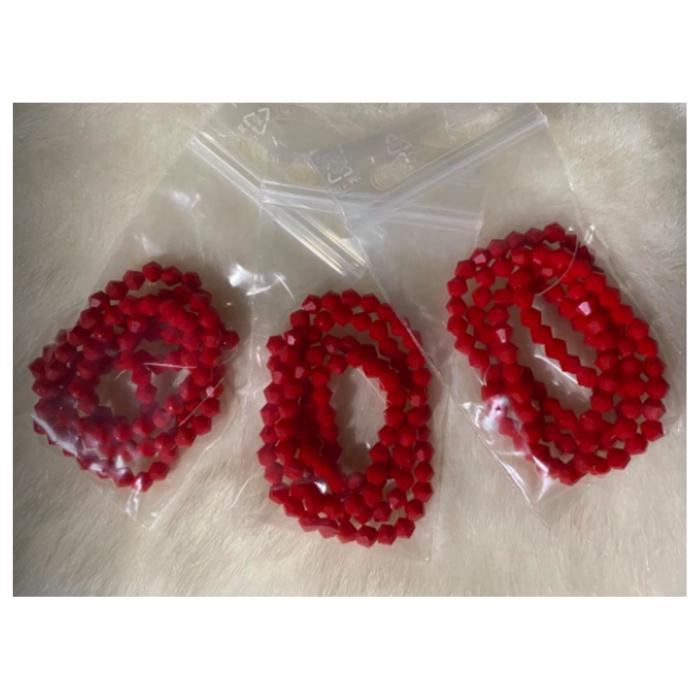 KR-34115  Kristalo karoliukai, 4mm, bikone, 100vnt., RAUDONI