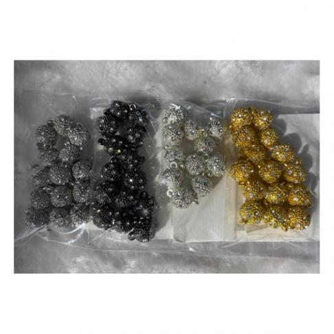7-KR990  Magnetinis užsegimas, 9x14mm,  su kristalo akutėm, 1vnt., tamsesnio sid., sp.