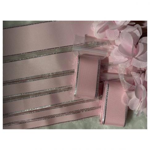 K-GR00160  Gofruota juostelė, su sidabro sp., krašteliais, 16mm,  kaina už 2m., ROŽINĖ