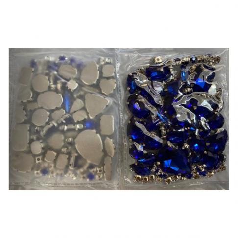 DT-MIX111 Kristalo, prisiuvamų intarpų MIX, apie (nuotraukoje) MĖLYNI