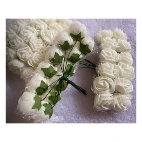 G-DK79  Dirbtinės gėlytės, apie 2cm,  12nt., KREMINĖS