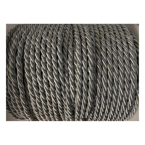 V-S4184  Sukta satino virvutė, 3mm, PILKA, kaina 1 beginio metro.