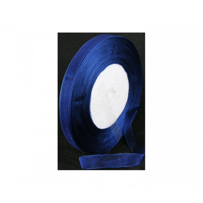 JUOST-1012 Organzos MĖLYNA juostelė, 10mm, kaina už 50cm
