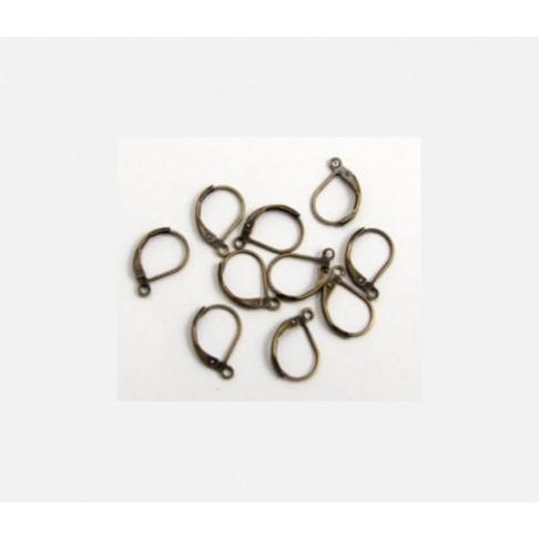 Z-2230 Žalvario kabliukai auskarams 10x15mm, kaina už 5 poras