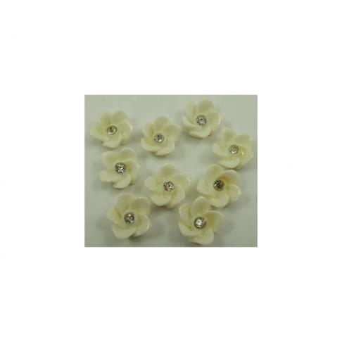 GEL-A122K Gėlytė kabošonas, apie 12mm, kreminės sp. su akute