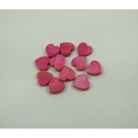 11-0004 Kriauklės karoliukas širdelė, 15x13mm, avietinės sp. skylutė eina išilgai širdelės, kaina už 1vnt.