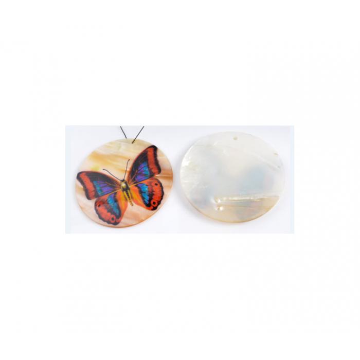 NKP-9196 Pakabukas natūralios kriauklės, Margas drugelis, 50mm