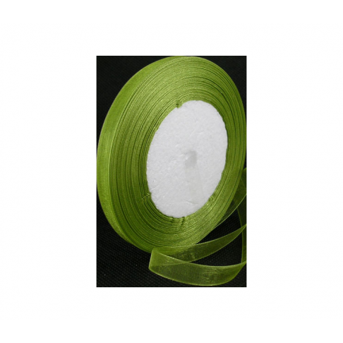 JUOST-1302 Organzos juostelė, žalia, 10mm, kaina už 50cm