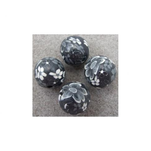 FIMO-17181 Fimo karoliukas juodas, baltom gėlytėm, apie 17mm