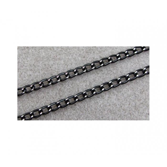 JUOD-GR1636 Grandinėlė, juoda su sid. sp. raižymais, 8.5x6mm, kaina už 1m