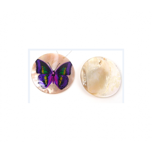 KRIAUK-2221 Kriauklės pakabukas, 50mm, violet. drugelis