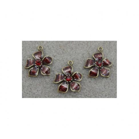 ZAL-1729 Pakabukas gėlė su raudona kristalo akute, 23x20mm