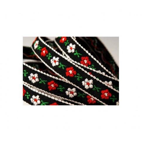 JUOST-10M747 Medvilnė 46|54 pol. 10mm, juoda su baltom-raudonom gėlytėm, kaina už 50 cm