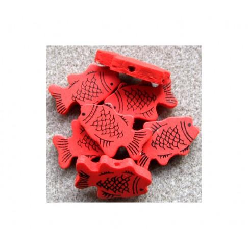 MED-Z2 Medinis karoliukas žuvytė, 27x17mm, RAUDONA