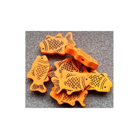 MED-Z6 Medinis karoliukas žuvytė, 27x17mm, ORANŽINĖ