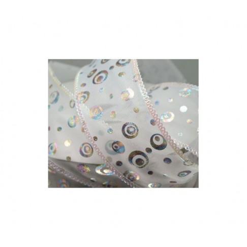 KASP-GR17 Juostelė, organzos su vaivorykštės burbuliukais, 37mm, už 50 cm