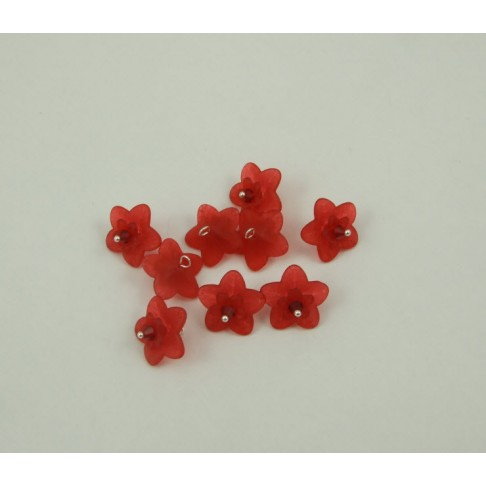 14-04 Gėlytė akrilinė, raudona, su kristalo akute, pasidabruota vielutė, 17mm