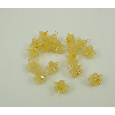 14-10 Gėlytė akrilinė, geltona, su kristalo akute, pasidabruota vielutė, 12mm