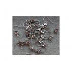 7-KB1711 Kabliukai auskarams su gėlyte, 17mm, kaina už 2