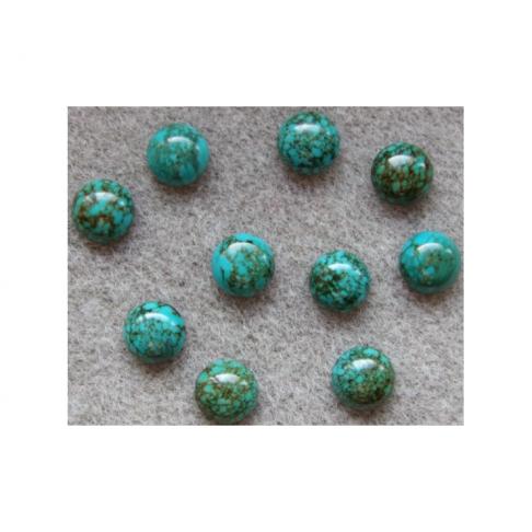 KAB-NT77 Natūralaus turkio kabošonas 10mm, emerald žalia